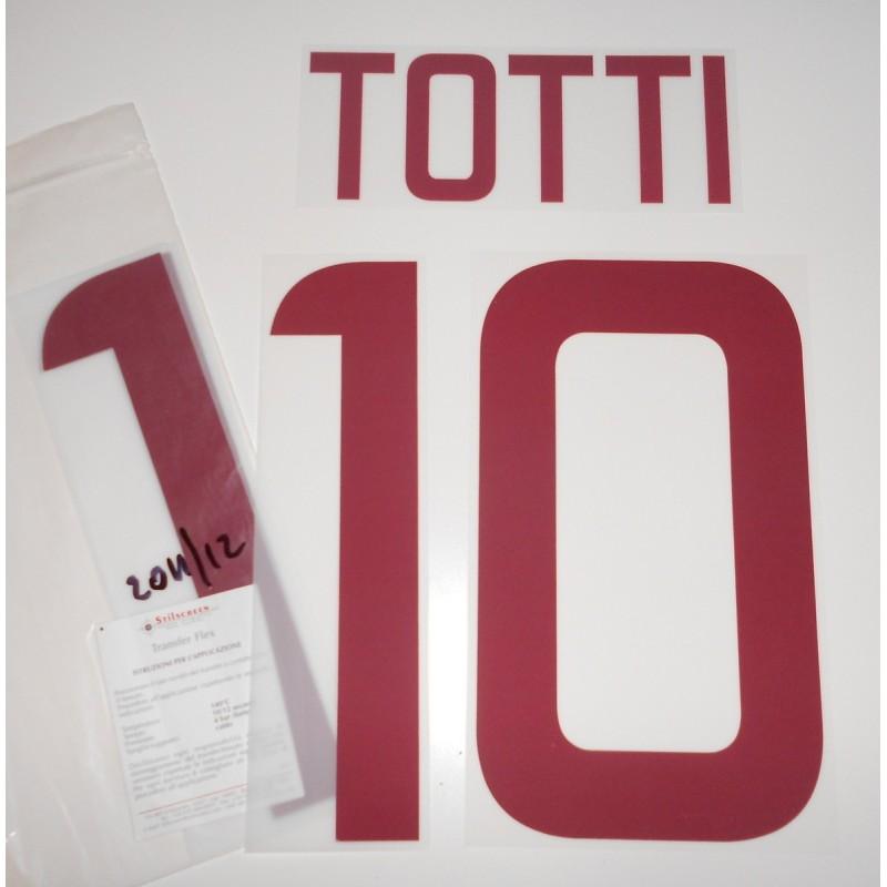 Roma 10 Totti nome e numero maglia away 2011/12