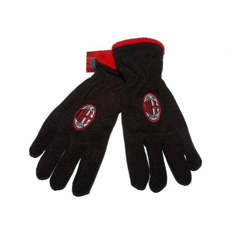 Milan gants polaire noir et rouge produit officiel