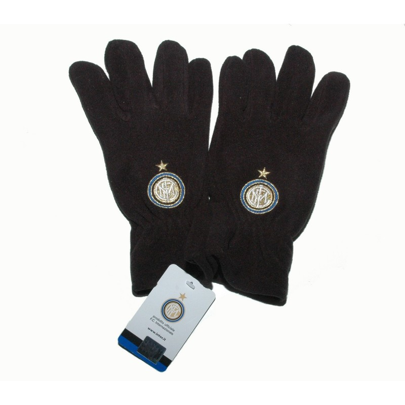 Inter fleece gloves black official