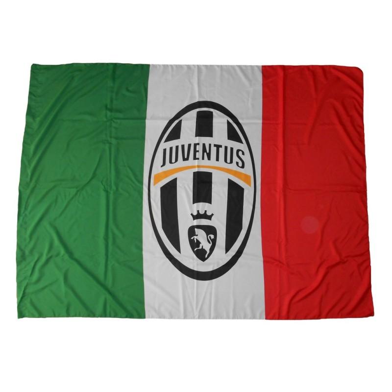 Logo de la Juventus drapeau tricolore 140x200 cm officiel
