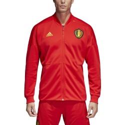 Bélgica RBFA sudadera ZNE Chaqueta antes de la carrera de rojo 2018/19 Adidas
