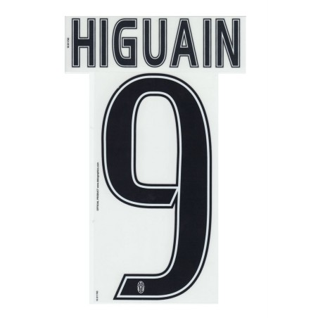 Juventus 9 Higuain nome e numero maglia home third 2016/17
