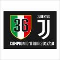 Bandiera Juventus 36 scudetto 100x140 cm JJ Campioni d'Italia 2017/18