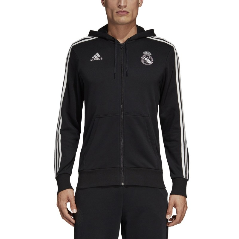 ADIDAS REAL MADRID 3 Stripes Full Zip Hoodie Mens Black