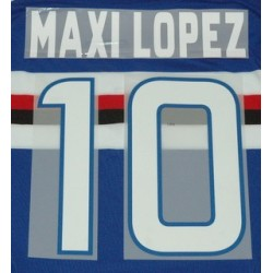 Sampdoria Maxi Lopez 10 personalizzazione maglia home 2012/13