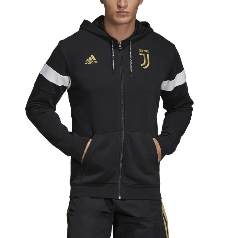 Juventus sweatshirt 3 Stripes hooded black 2018/19 Adidas