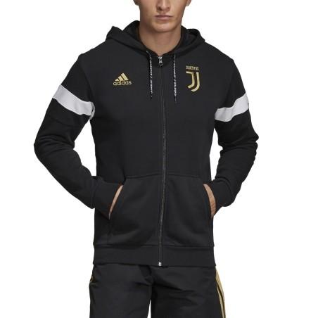 Juventus felpa 3 Stripes con cappuccio nera 2018/19 Adidas