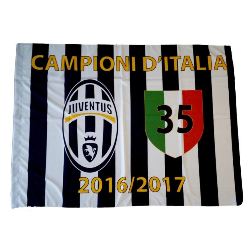 Bandiera Juventus 35 scudetto 100x140 cm Campioni d'Italia 2016/17