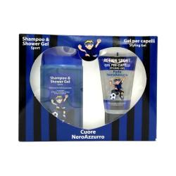 FC Inter set de regalo champú + acción de gel de Corazón Negro Azul
