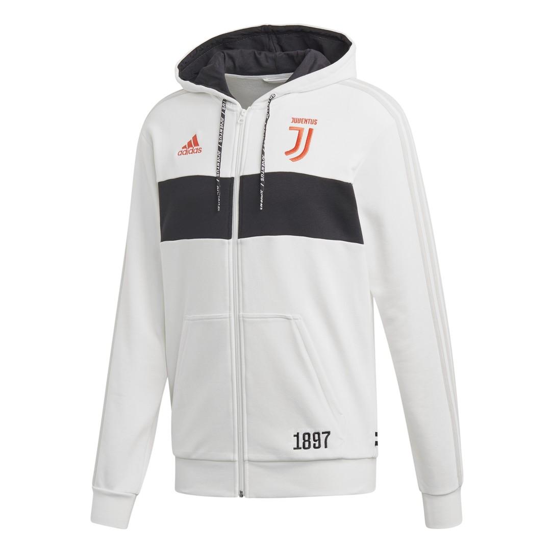 grey adidas hoodie with bianca stripes
