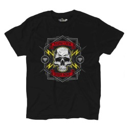 T-Shirt Teschio Rock Skull Respect Thunder Fire Grunge