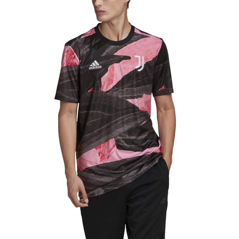Juventus maglia pre partita rosa nero 2020/21 Adidas