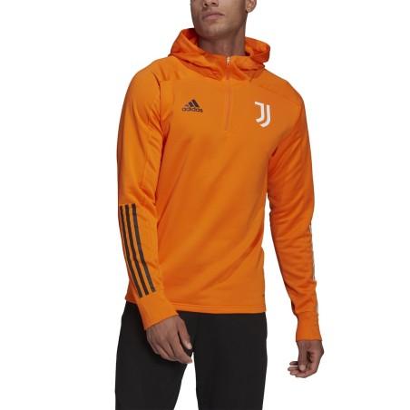 Juventus Felpa con cappuccio arancione Track Hood 2020/21 Adidas