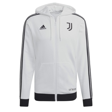 Adidas Juventus felpa 3 Stripes FZ cappuccio bianco nero 2021/22