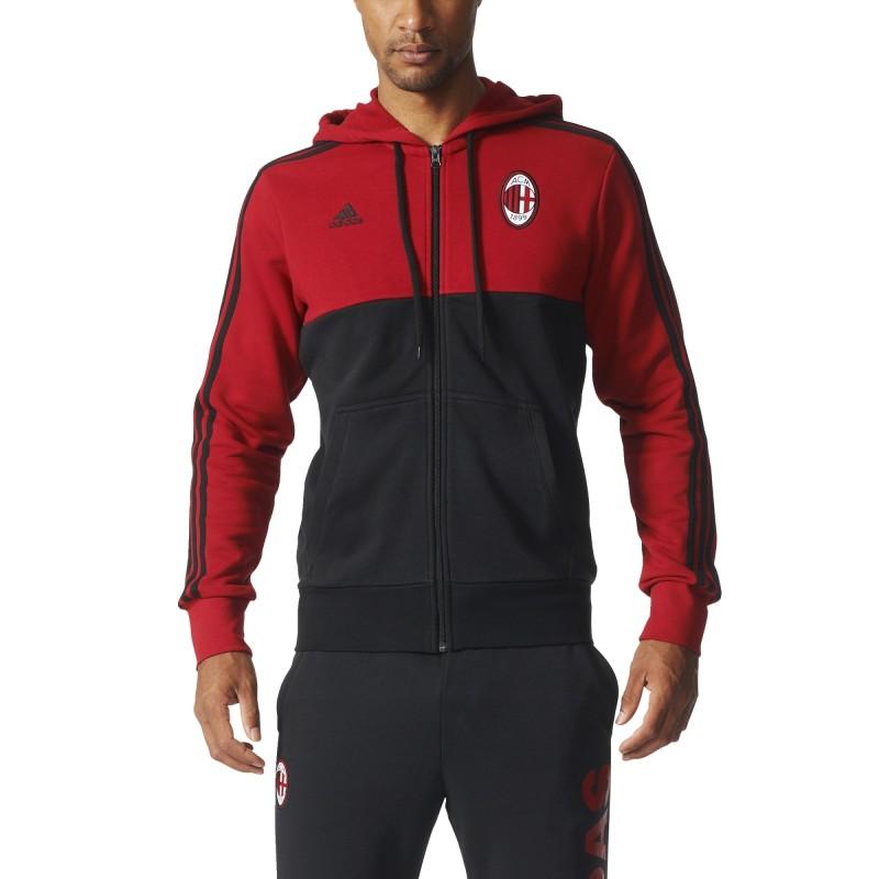 moda firmata 8519c a30ac AC Milan hoody cap 3 Stripes 2016/17 Adidas
