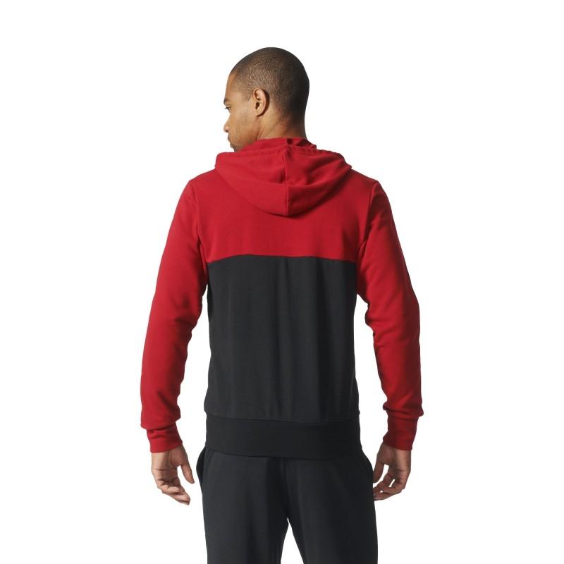 MIlan Felpa con cappuccio 3 Stripes Rosso Nera 201617 Adidas