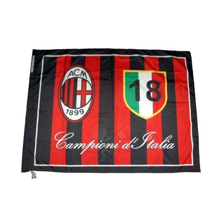 Milan drapeau 18 scudetto 140x180 cm officiel