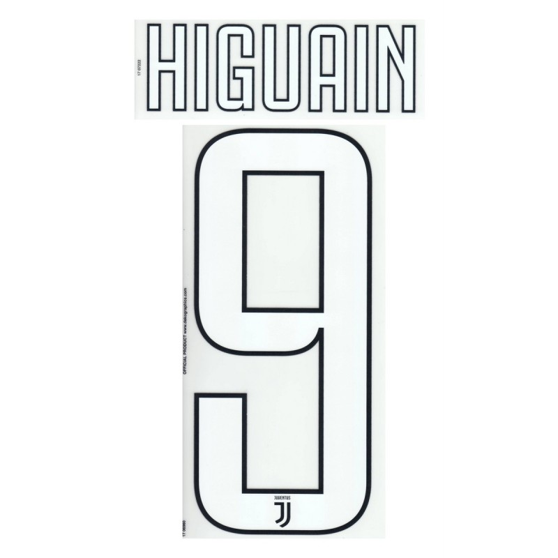 Juventus 9 Higuain's name and number home shirt third 2017/18
