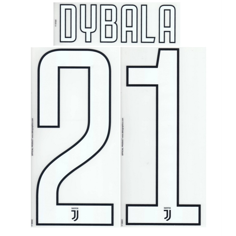 Juventus 21 Dybala name und nummer auf trikot home third 2017/18