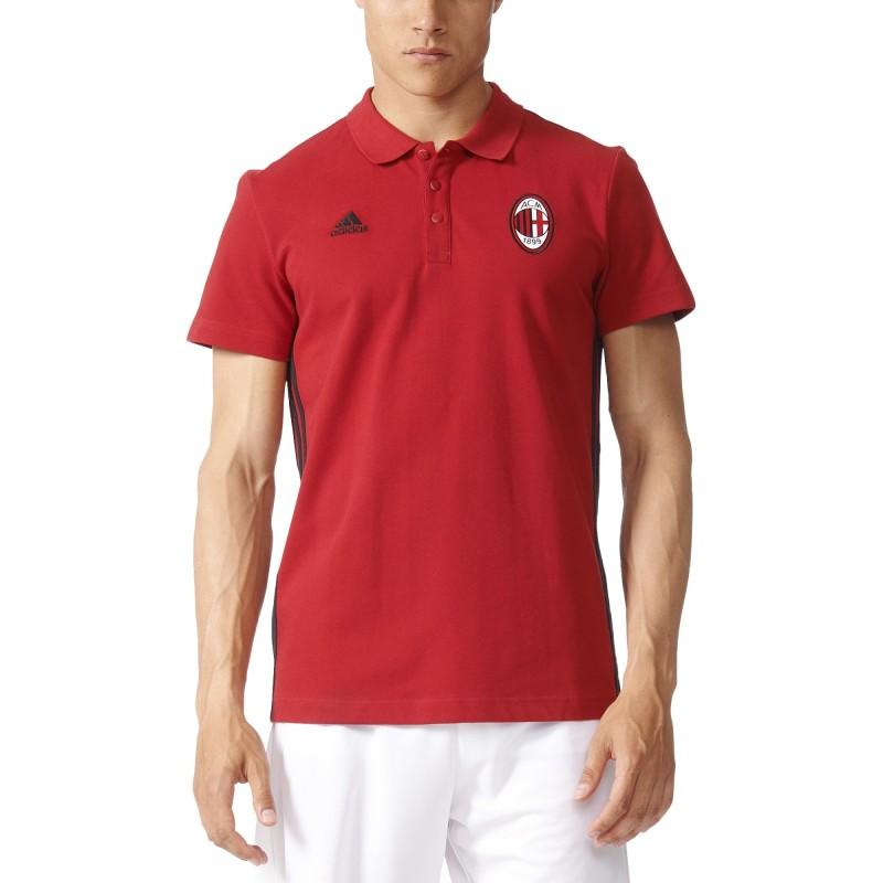 AC Milan polo 3 Streifen rote 2016/17 Adidas